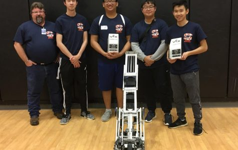 Team Reborn: Robotics coach Randy Scrudder, Mitchell Shinn, Alan Tran, Danny Lee and Thom Pham (not pictured Andy Nguyen)