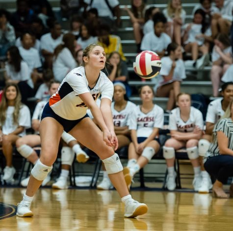 Sophomore Macy Taylor starts the season with five kills against Coppell and  six kills against Creekview.  File photo from 2019 season.