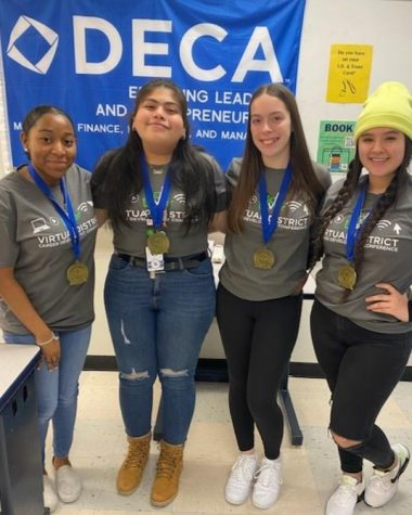 DECA members advancing to the state competition: Jasmine Cambric, Diana Dominguez, Kadynce Ringdon and Julissa Palma.