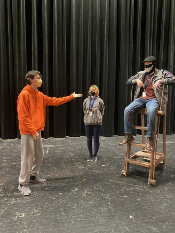 "Senior Conner Carroll, sophomore Zoë Dempsey and senior Caleb Casteel rehearse for ""Argonautika""."