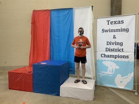 Junior Lucas Carter placed third in the Texas District Diving Meet.